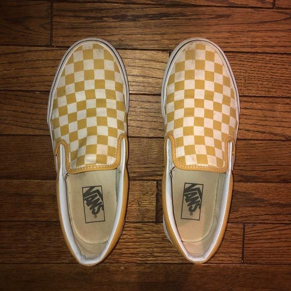 Yellow Checkerboard Slip On Vans | Poshmark